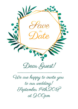 Wedding invitation design collection with eucalyptus leaves. Vector illustration.