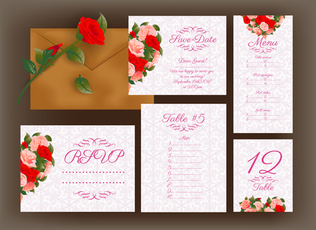 Wedding holiday invitation design with rose flowers and calligraphy text. Vector illustration.