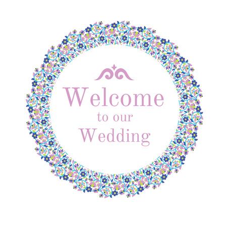 Wedding invitation design with floral frame. Vector illustration.