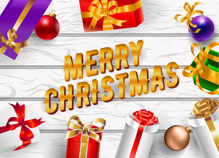Christmas holiday poster design with decorate text. Vector illustration.