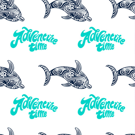 Summer time seamless pattern with dolphin and decorate letters. Vector illustration.