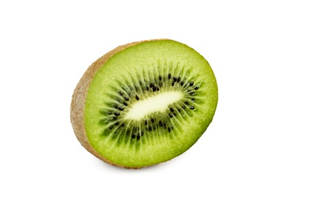 Kiwi fruit and his sliced segments, isolated on white background