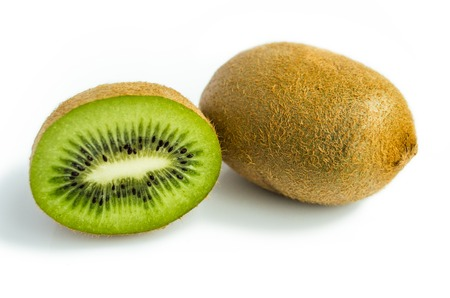 cantle: Kiwi fruit and his sliced segments, isolated on white background