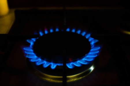 gas stove: Flame gas of a burning stove in the dark