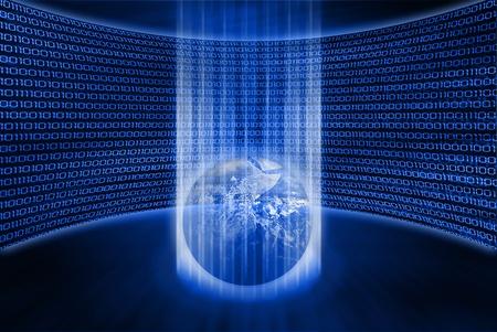 codigo binario: tierra resumen en corriente de datos digitales