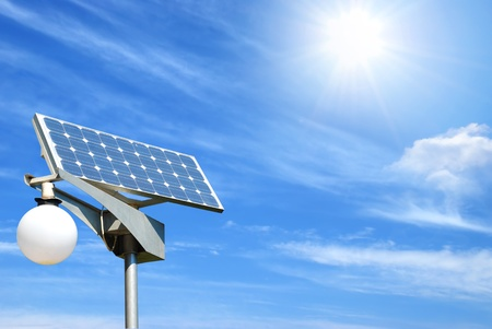 solar panel on sky background photo