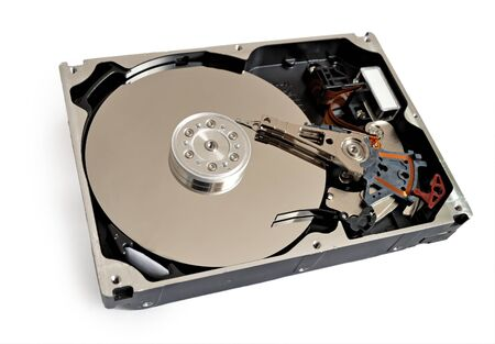hdd of computer isolated on white photo