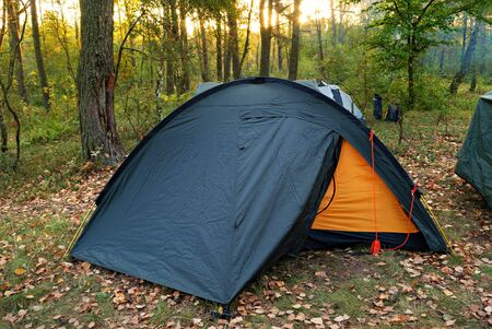 camping tent in forest and rays of rising sun Stock Photo - 11812020