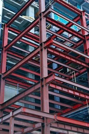 metal structure: construction site with steel rusty girders