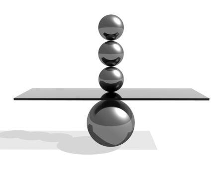 vyvážení 3d abstraktní ilustrace s kovovými kuličkami