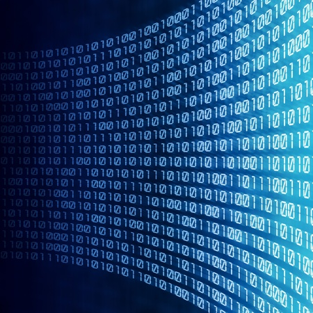 abstraktní binární kód na modré digitálním displeji
