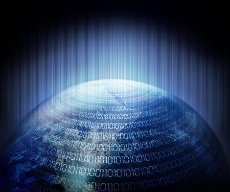 Digitální kód zeminou pozadím