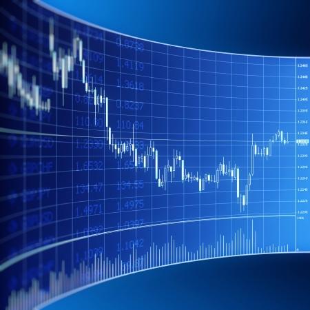 forex Grafika pro obchodování s cizími měnami na modré digitálním displejem