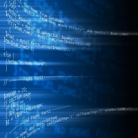 code of php language programming on blue