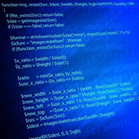 code of php language programming on blue screen photo