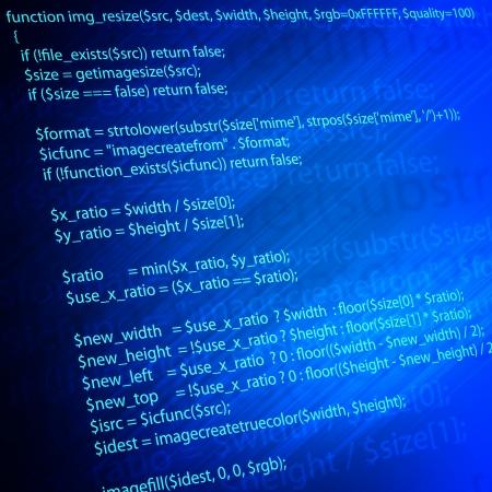 Kód jazyka PHP programování na modré obrazovce Reklamní fotografie
