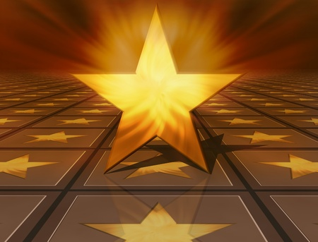 3d golden star on brown background photo