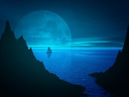 Měsíc a reflexe v noci mořské vodě. Remote plachetnice na obzoru. 3d tavené přímořská krajina