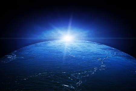 Planet earth under water, global warming concept image