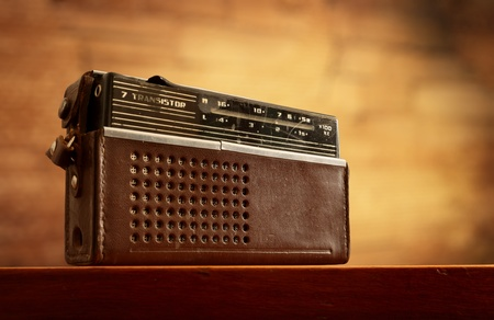 retro radio on grunge blurred wall background photo