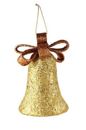 golden xmas bell isolated on white background