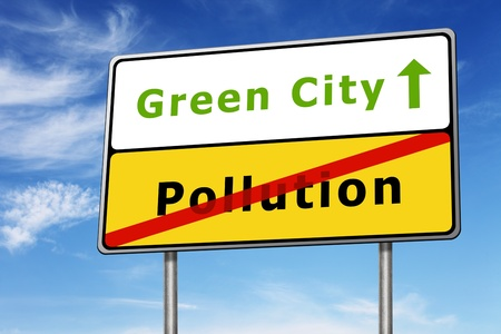 green city road sign concept image on blue sky background photo