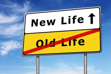 életmód: új élet road sign koncepció kép és a kék ég Stock fotó