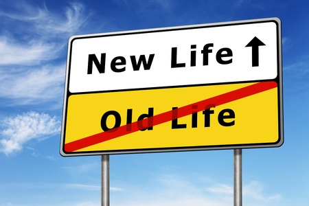 new direction: new life road sign concept image and blue sky