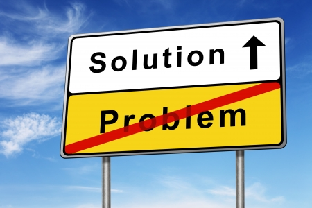 solution and problem road sign concept image with blue sky