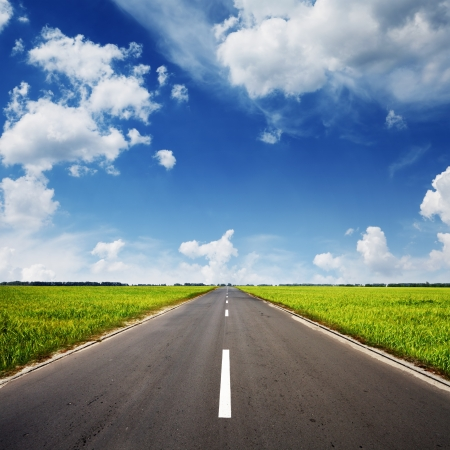asphalt road through the green field and clouds on blue sky in summer day Stockfoto