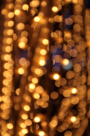 light circular: gold festive lights, abstract blurred background Stock Photo