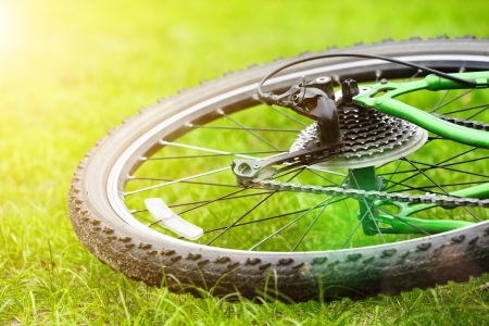 bicycle wheel on green grass in sun light, selective focus