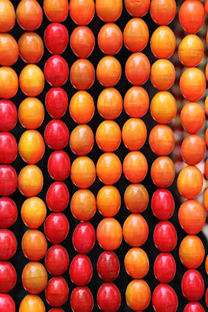 easter eggs background closeup with vivid colors Stock Photo