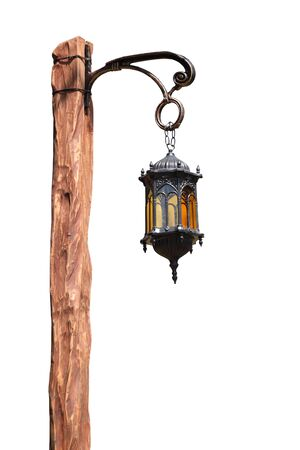 metal pole: lantern on wooden pole isoletad over white, old-fashioned Stock Photo