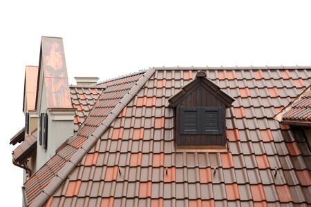 oldfashioned: tiled roof of old-fashioned house isolated on white
