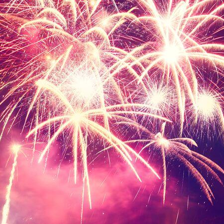 holiday fireworks photo on night sky background