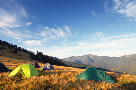 camping tents on the meadow after sunrise, mountains on background