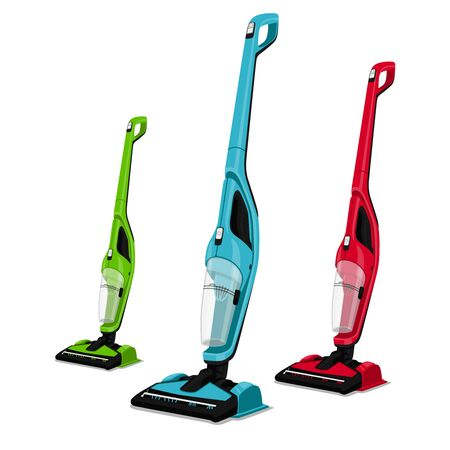 3 bright 3D vacuum cleaners. Red, green, blue vacuum cleaners. You can use ads, marketing, logo, icon, board and template. Vector graphics. Modern style.