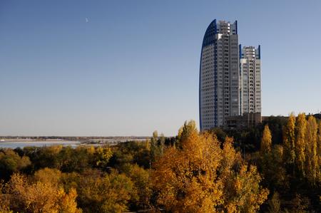 volgograd: high house on sky background in Volgograd Stock Photo