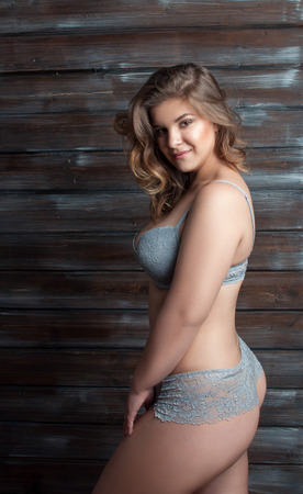 sexy butt: smiling plus size model