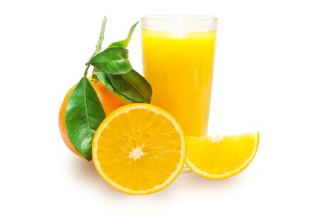 With a glass of orange juice on white background photo