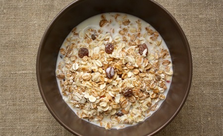 muesli: muesli with milk Stock Photo