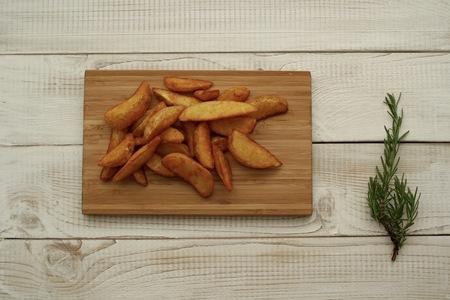 quartered: Roasted potatoes on the desk