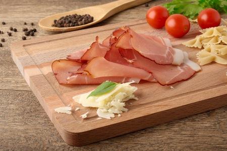 Parmesan: farfalle pasta, bacon and parmesan