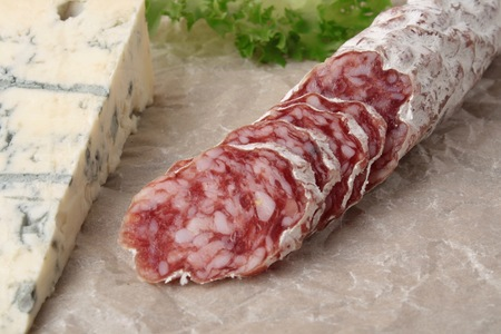 molded: Blue cheese and spicy salami