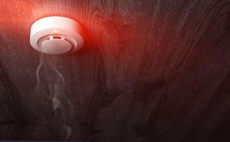 fire alarm sensor on a wooden Standard-Bild