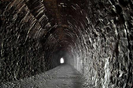 tunel: Foto del t�nel desierta en ferrocarril Baikal  Foto de archivo