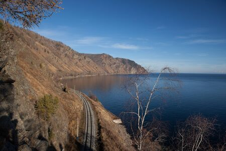 aerial view to old circum-Baikal railroad  Lake Baikal is visible from right side Stock Photo - 16685493