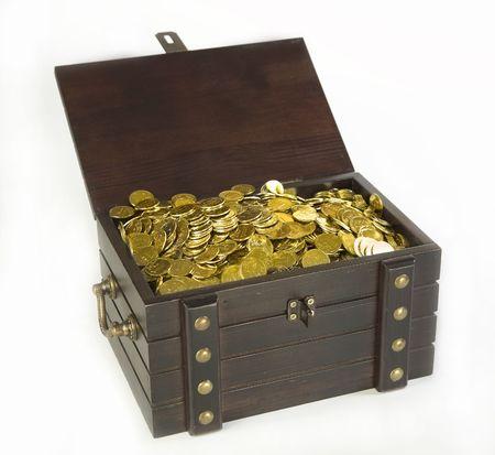 白地にゴールド コインで胸 写真素材 - 4118070