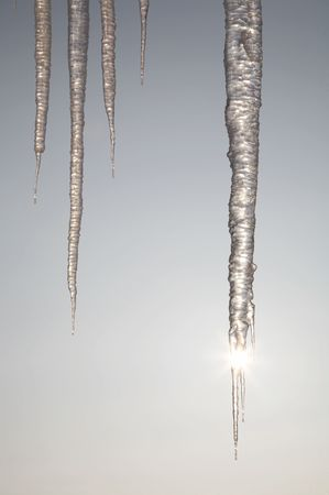 The sun shining through icicles in winter day Stock Photo